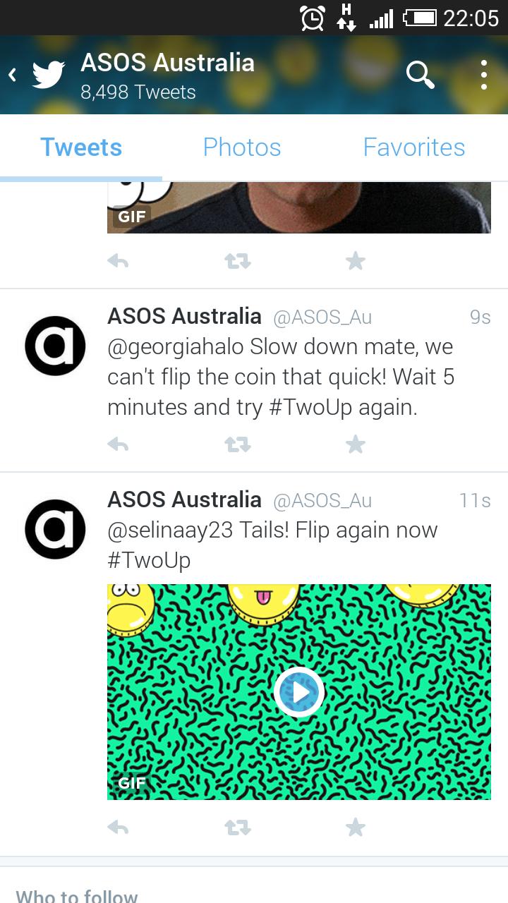 Screenshot of the ASOS Australia Twitter account